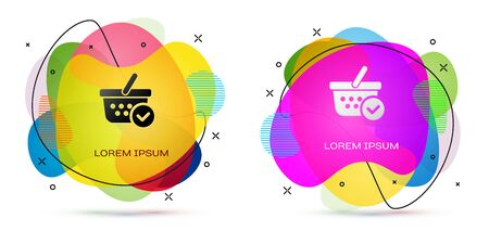 Color Shopping basket with check mark icon isolated on white background. Supermarket basket with approved, confirm, tick, completed symbol. Abstract banner with liquid shapes. Vector Illustration Illustration