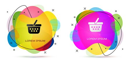 Color Shopping basket icon isolated on white background. Online buying concept. Delivery service sign. Shopping cart symbol. Abstract banner with liquid shapes. Vector Illustration