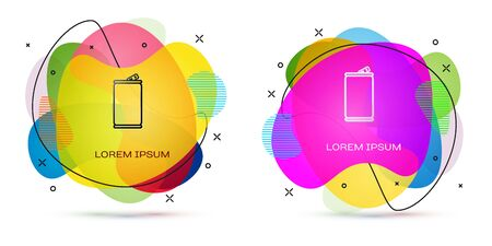 Color Aluminum can icon isolated on white background. Abstract banner with liquid shapes. Vector Illustration