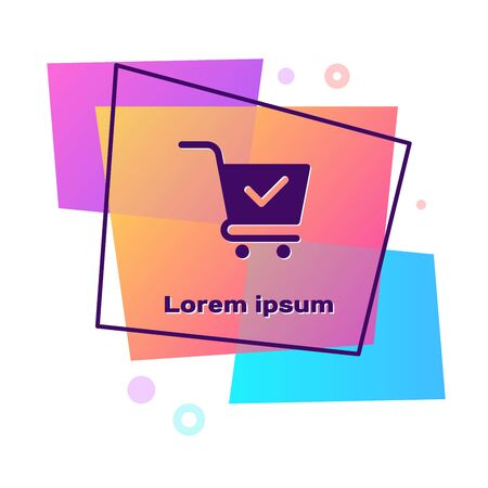 Purple Shopping cart with check mark icon isolated on white background. Supermarket basket with approved, confirm, done, tick, completed symbol. Color rectangle button. Vector Illustration Illustration