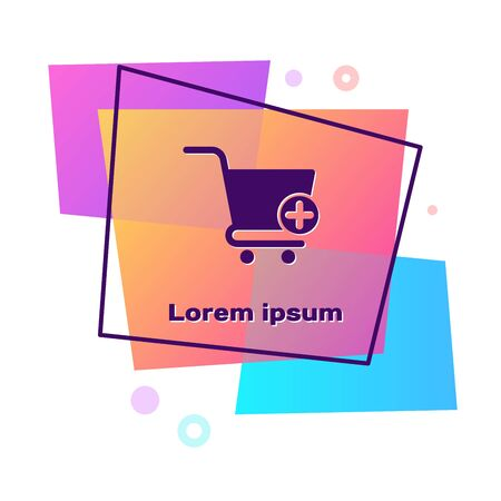 Purple Add to Shopping cart icon isolated on white background. Online buying concept. Delivery service sign. Supermarket basket symbol. Color rectangle button. Vector Illustration Illustration
