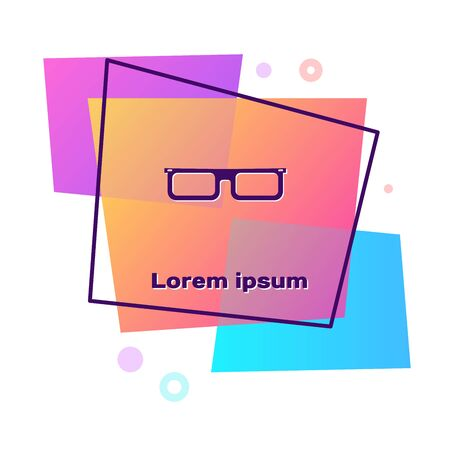 Purple Glasses icon isolated on white background. Eyeglass frame symbol. Color rectangle button. Vector Illustration