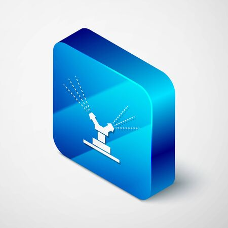 Isometric Automatic irrigation sprinklers icon isolated on white background. Watering equipment. Garden element. Spray gun icon. Blue square button. Vector Illustration