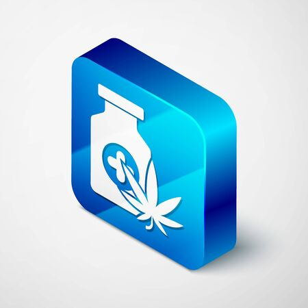 Isometric Medical bottle with marijuana or cannabis leaf icon isolated on white background. Mock up of cannabis oil extracts in jars. Blue square button. Vector Illustration Stock Illustratie