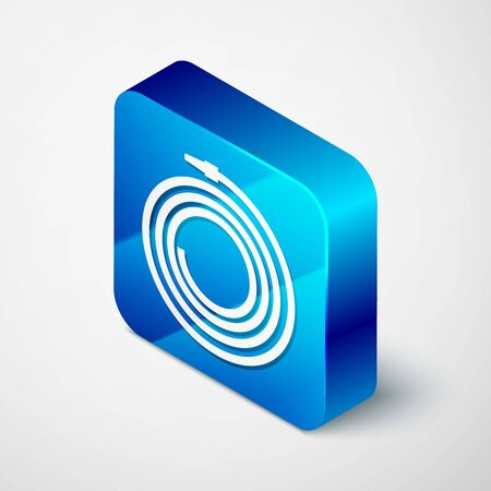 Isometric Garden hose or fire hose icon isolated on white background. Spray gun icon. Watering equipment. Blue square button. Vector Illustration Ilustrace