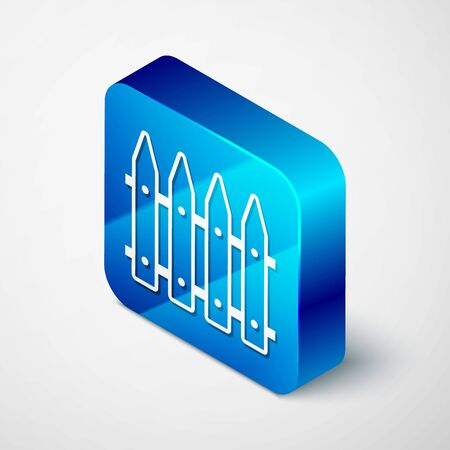 Isometric Garden fence wooden icon isolated on white background. Blue square button. Vector Illustration