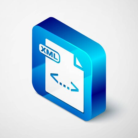 Isometric XML file document. Download xml button icon isolated on white background. XML file symbol. Blue square button. Vector Illustration