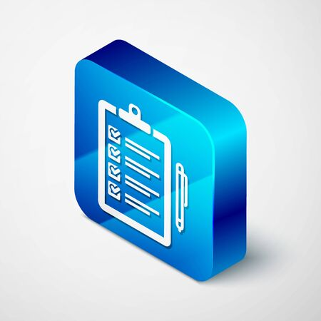 Isometric Verification of delivery list clipboard and pen icon isolated on white background. Blue square button. Vector Illustration