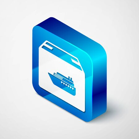Isometric Cargo ship with boxes delivery service icon isolated on white background. Delivery, transportation. Freighter with parcels, boxes, goods. Blue square button. Vector Illustration