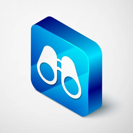 Isometric Binoculars icon isolated on white background. Find software sign. Spy equipment symbol. Blue square button. Vector Illustration