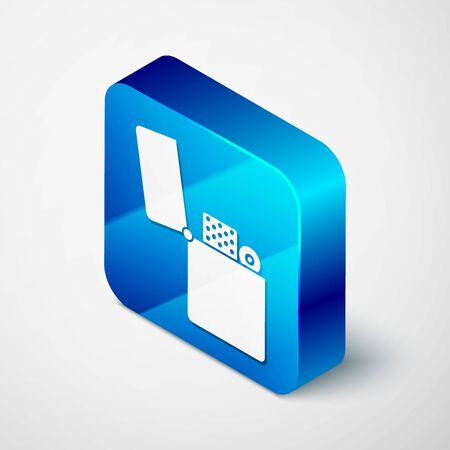 Isometric Lighter icon isolated on white background. Blue square button. Vector Illustration Ilustração