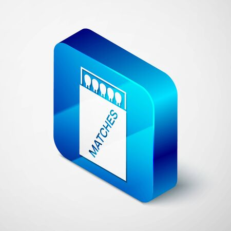Isometric Open matchbox and matches icon isolated on white background. Blue square button. Vector Illustration