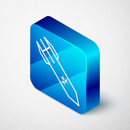 Isometric Biohazard rocket icon isolated on white background. Rocket bomb flies down. Blue square button. Vector Illustration
