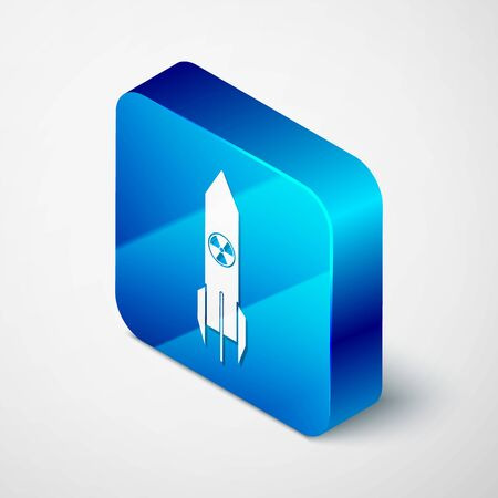 Isometric Nuclear rocket icon isolated on white background. Rocket bomb flies down. Blue square button. Vector Illustration
