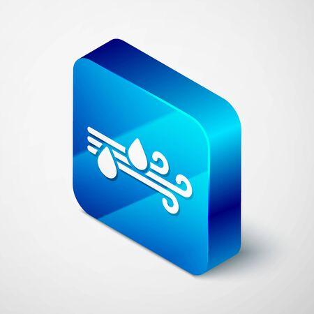 Isometric Wind and rain icon isolated on white background. Windy weather. Blue square button. Vector Illustration Vektoros illusztráció