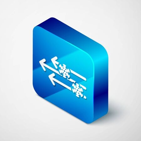 Isometric Wind and snow icon isolated on white background. Windy weather. Blue square button. Vector Illustration Vektoros illusztráció