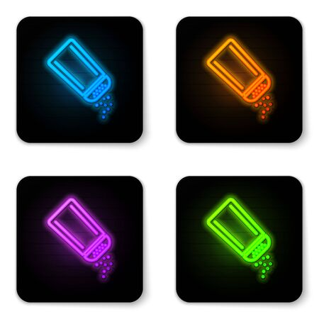 Glowing neon Salt and pepper icon isolated on white background. Cooking spices. Black square button. Vector Illustration Ilustração