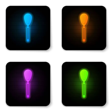 Glowing neon Kitchen whisk icon isolated on white background. Cooking utensil, egg beater. Cutlery sign. Food mix symbol. Black square button. Vector Illustration