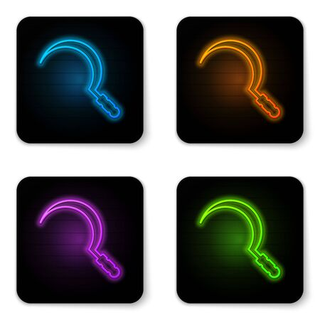 Glowing neon Sickle icon isolated on white background. Reaping hook sign. Black square button. Vector Illustration