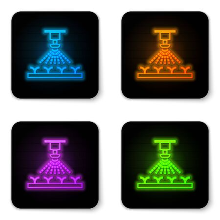 Glowing neon Automatic irrigation sprinklers icon isolated on white background. Watering equipment. Garden element. Spray gun icon. Black square button. Vector Illustration Archivio Fotografico - 130958701