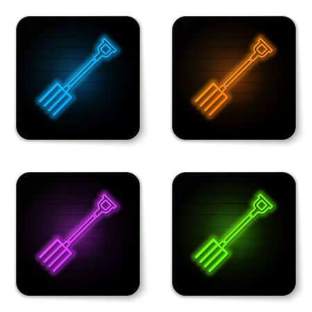 Glowing neon Garden pitchfork icon isolated on white background. Garden fork sign. Tool for horticulture, agriculture, farming. Black square button. Vector Illustration Vettoriali