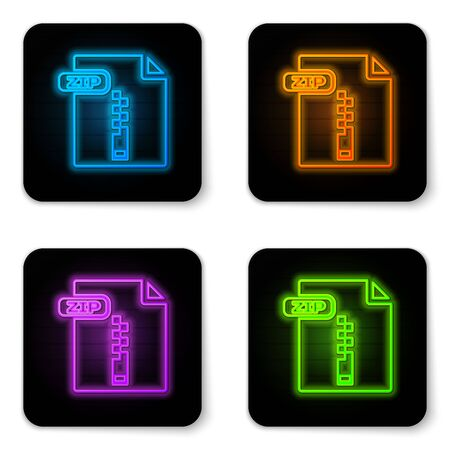 Glowing neon ZIP file document. Download zip button icon isolated on white background. ZIP file symbol. Black square button. Vector Illustration