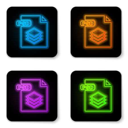 Glowing neon PSD file document. Download psd button icon isolated on white background. PSD file symbol. Black square button. Vector Illustration Illustration