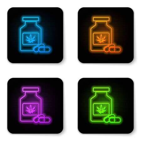 Glowing neon Medical bottle with marijuana or cannabis leaf icon isolated on white background. Mock up of cannabis oil extracts in jars. Black square button. Vector Illustration Stockfoto - 130959478