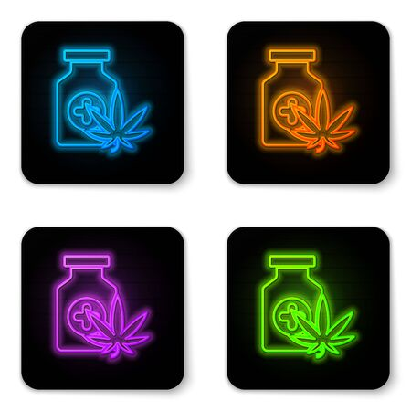 Glowing neon Medical bottle with marijuana or cannabis leaf icon isolated on white background. Mock up of cannabis oil extracts in jars. Black square button. Vector Illustration Stock Illustratie
