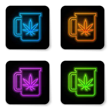 Glowing neon Cup tea with marijuana or cannabis leaf icon isolated on white background. Marijuana legalization. Hemp symbol. Black square button. Vector Illustration