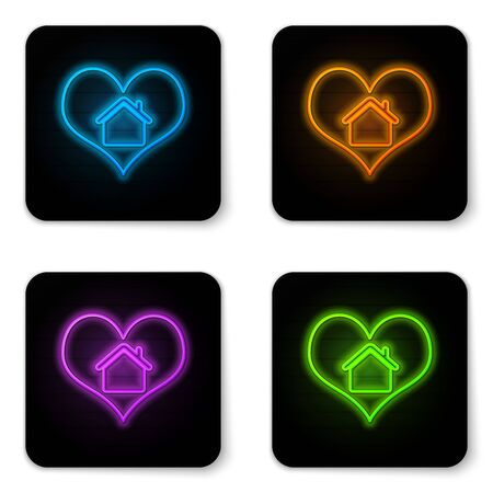 Glowing neon House with heart shape icon isolated on white background. Love home symbol. Family, real estate and realty. Black square button. Vector Illustration