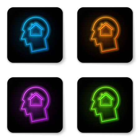 Glowing neon Man dreaming about buying a new house icon isolated on white background. Black square button. Vector Illustration Illustration