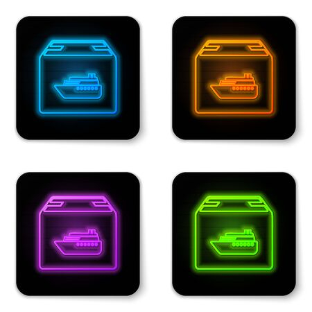 Glowing neon Cargo ship with boxes delivery service icon isolated on white background. Delivery, transportation. Freighter with parcels, boxes, goods. Black square button. Vector Illustration Illustration