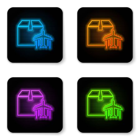 Glowing neon Plane and cardboard box icon isolated on white background. Delivery, transportation. Cargo delivery by air. Airplane with parcels, boxes. Black square button. Vector Illustration