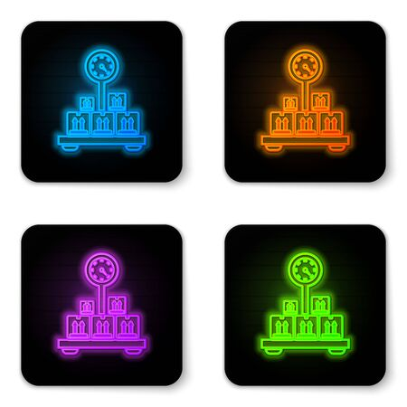 Glowing neon Scale with cardboard box icon isolated on white background. Logistic and delivery. Weight of delivery package on a scale. Black square button. Vector Illustration