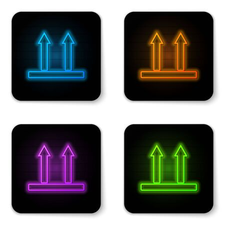 Glowing neon This side up icon isolated on white background. Two arrows indicating top side of packaging. Cargo handled so these arrows always point up. Black square button. Vector Illustration Banque d'images - 130954151