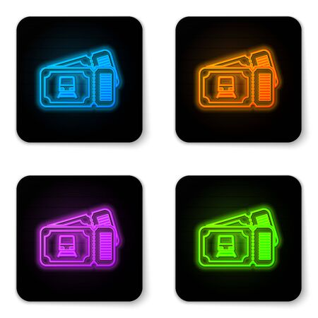Glowing neon Train ticket icon isolated on white background. Travel by railway. Black square button. Vector Illustration Illustration