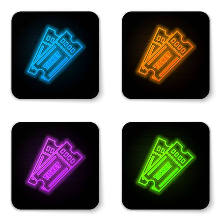 Glowing neon Ticket icon isolated on white background. Black square button. Vector Illustration Иллюстрация