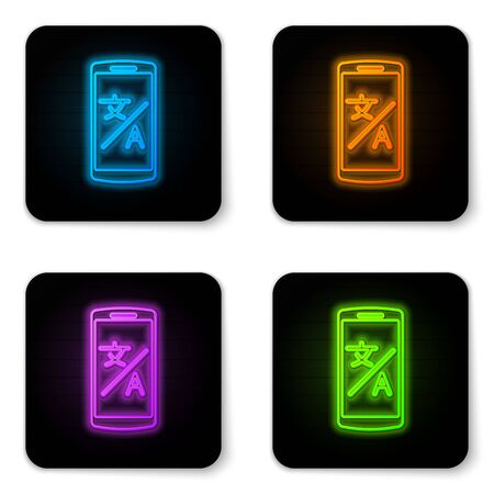 Glowing neon Online translator icon isolated on white background. Foreign language conversation icons in chat speech bubble. Translating concept. Black square button. Vector Illustration