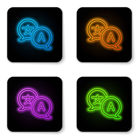 Glowing neon Translator icon isolated on white background. Foreign language conversation icons in chat speech bubble. Translating concept. Black square button. Vector Illustration