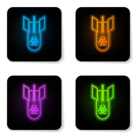Glowing neon Biohazard bomb icon isolated on white background. Rocket bomb flies down. Black square button. Vector Illustration