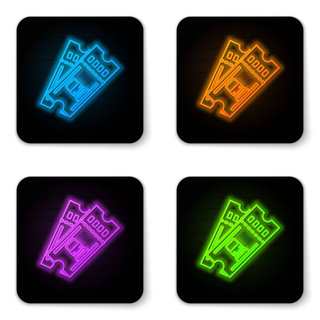 Glowing neon Train ticket icon isolated on white background. Travel by railway. Black square button. Vector Illustration Stock Illustratie