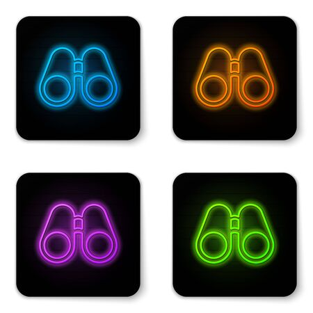 Glowing neon Binoculars icon isolated on white background. Find software sign. Spy equipment symbol. Black square button. Vector Illustration