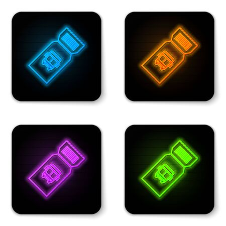 Glowing neon Bus ticket icon isolated on white background. Public transport ticket. Black square button. Vector Illustration Banque d'images - 130946116