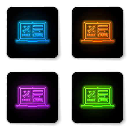 Glowing neon Laptop with electronic boarding pass airline ticket icon isolated on white background. Passenger plane mobile ticket for web and app. Black square button. Vector Illustration
