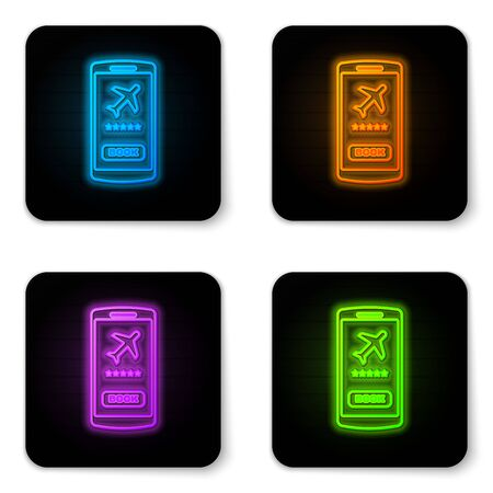 Glowing neon Smartphone with electronic boarding pass airline ticket icon isolated on white background. Passenger plane mobile ticket for web and app. Black square button. Vector Illustration Çizim