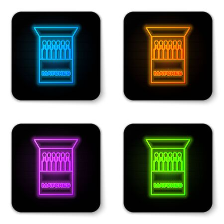 Glowing neon Open matchbox and matches icon isolated on white background. Black square button. Vector Illustration
