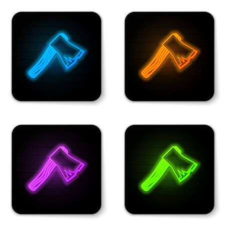 Glowing neon Old wooden axe icon isolated on white background. Lumberjack axe. Black square button. Vector Illustration