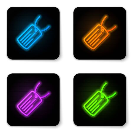 Glowing neon Military dog tag icon isolated on white background. Identity tag icon. Army sign. Black square button. Vector Illustration