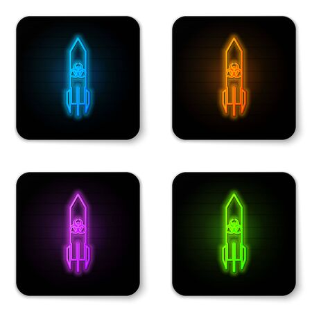 Glowing neon Biohazard rocket icon isolated on white background. Rocket bomb flies down. Black square button. Vector Illustration Stock Illustratie